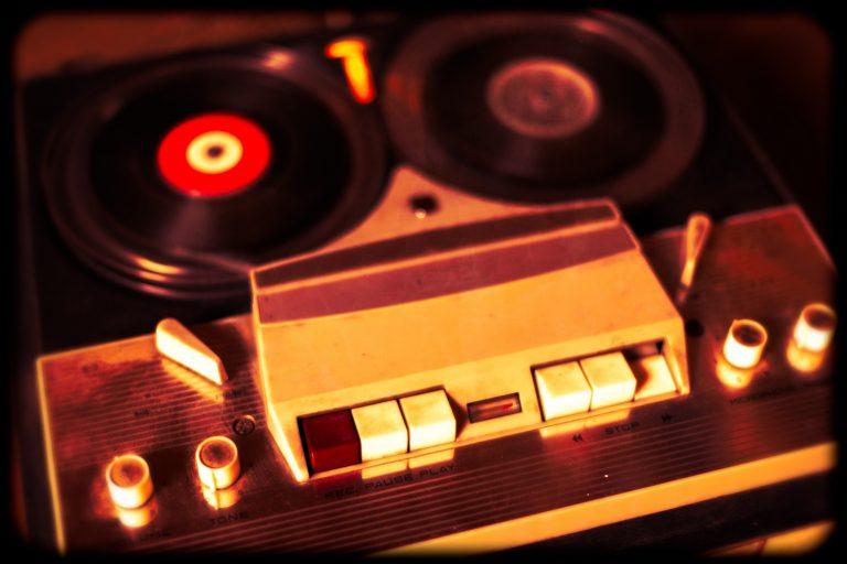 Old vintage reel tape recorder