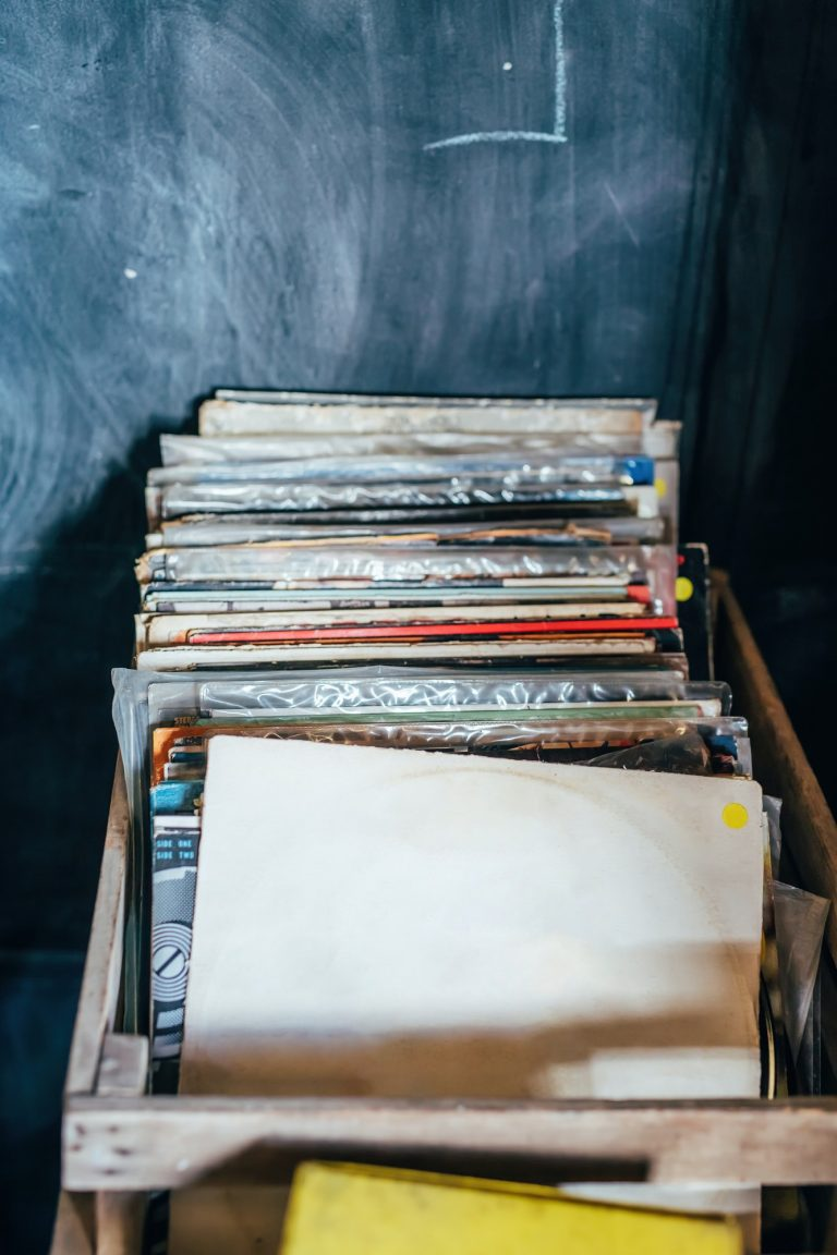 Rustic wooden box with old record albums