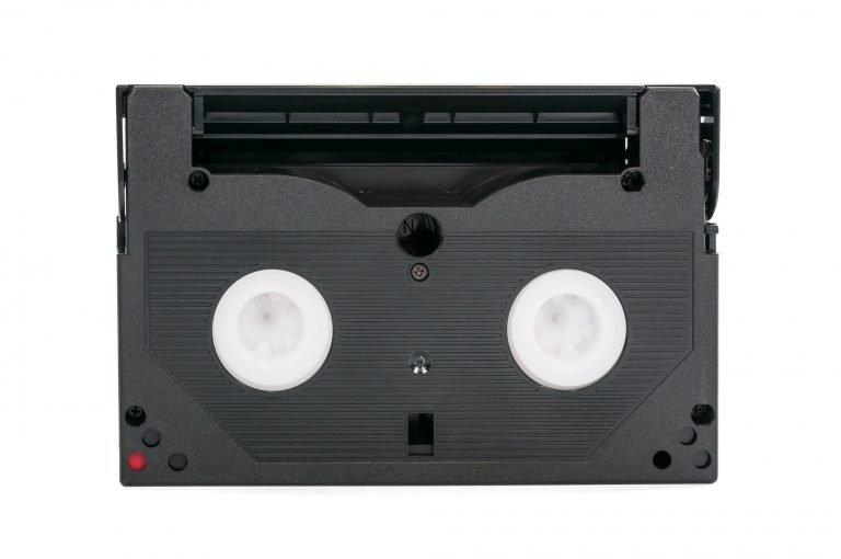 8mm video cassette on white background