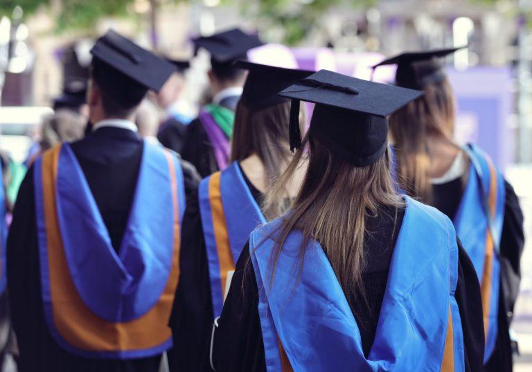 Tape of University graduates at graduation ceremony